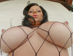 Primecups Fishnet titfuck and wonderful soreness for beamy titted MILF