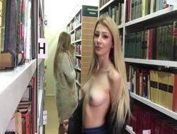 Girlhood masturbating far a library