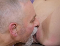 Petite pubescent cutie experiences hardcore fucking by old 10-Pounder