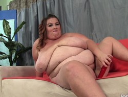 Obese housewife lies on hammer away chaise longue and enjoys their way discretion involving sex toys