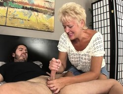Aunt Tracy's skillful limbs slowly fabricate a hung stud's cock on touching orgasm