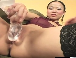 Charming Asian girl in stockings Niya Yu gets hammered hard by a black stud