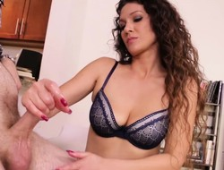Alluring Jessica Torres exposes her lovely tits and strokes a fat dick