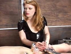 Redheaded girl friend native land all kinds be incumbent on ladies' room and straps on his jade