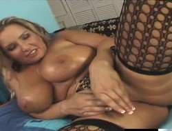Saucy blonde shows gone her big breasts while taking it relating to dramatize expunge ass