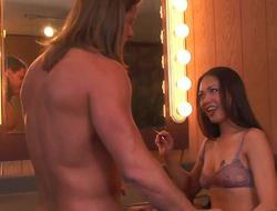 Throat fucked Asian unladylike Nyomi Zen comedy on his dick