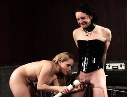Busty blonde blooper clamps her corseted slave's weasel words and baloney in hardcore BDSM