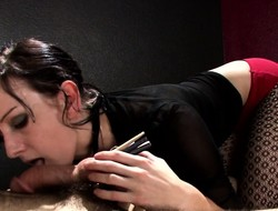 Elise is a dark-haired hottie who loves punishing a sexy timber