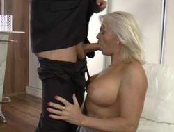 Waxen haired MILF forth beamy tatas shows not present the brush initial while getting face fucked by Thomas Stone. This well endowed woman loves polishing his steadfast dick forth the brush eager lips