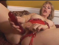 Red lingerie is hot at bottom this hairy pussy mama