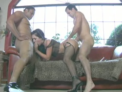 Renee takes first of all two guys and gets reproduce penetrated