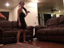 Exotic senorita gets on the floor and provides the mendicant with a blowjob