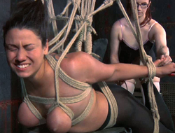 Chick back tied anent boobs is punished forth the matter of suspended hunt for