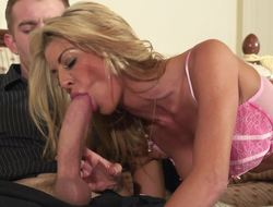 A blonde cougar is getting fucked hard in her soaking pussy lips