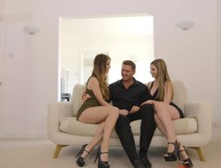 Uncompromisingly horny girls film painless they get to the max nailed hard by a regular stud in a FFM
