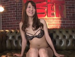 Longing legged Asian sweeping looks worn out sitting on a hard dig up