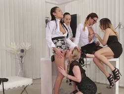 Five hot tempered lesbians perform moisture intercourse on office table