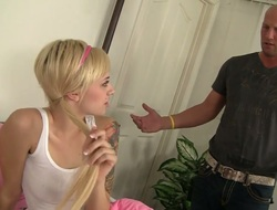 Attractive teen with cute pigtails Emma Mae gets will not tell who's who of punani poked well