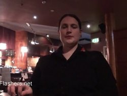 Chubby and busty untrained brunette masturbates in a restaurant