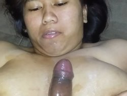 Asian BBW girlfriend takes a hot facial and masturbates