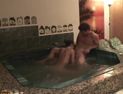 Hot making out romance in Jacuzzi with sexy Nessa Devil!