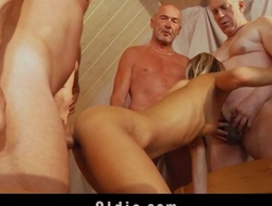 6 old dicks are hard shagging a young ass and pussy