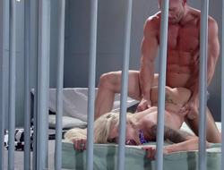 A light-complexioned hottie is getting fucked really hard in a difficulty prison
