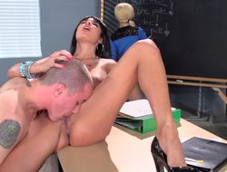 Super hot French motor coach gets in a threesome with horny students