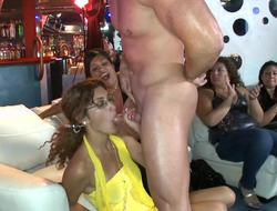 Bar sluts give blowjobs to the downcast male stripper with a big dick