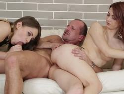 Couple punishes cute masseuse by involving her beside threesome